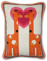 Jonathan Adler Kissing Giraffe Needlepoint Throw Pillow