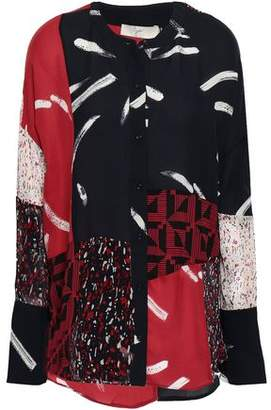 Joie Brunonia Patchwork-effect Printed Silk-chiffon And Crepe De Chine Shirt