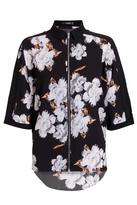 Quiz Black Crepe Floral Print Zip Shirt