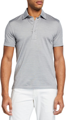 Ermenegildo Zegna Men's Silk-Blend Polo Shirt