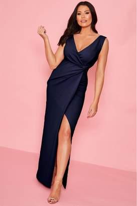 Jessica Wright Womens Sistaglam Loves Wrap Knot Maxi Dresses - Blue