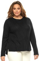 Dana Buchman Plus Size Chevron-Ribbed Scoopneck Sweater