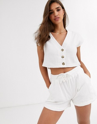 rhythm Porto cropped beach top in textured white cotton