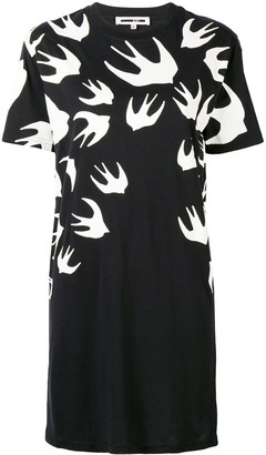 McQ swallow print T-shirt dress