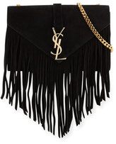 Saint Laurent Monogram Small Suede Fringe Shoulder Bag, Black
