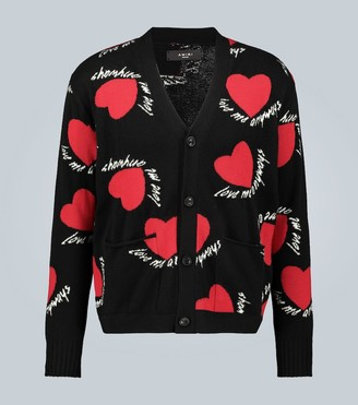 Amiri Cashmere-wool blend hearts cardigan