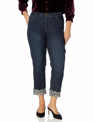 Slim Sation SLIM-SATION Women's Plus Size Embellished Button Front 5-Pocket Cuffed Crop Jean