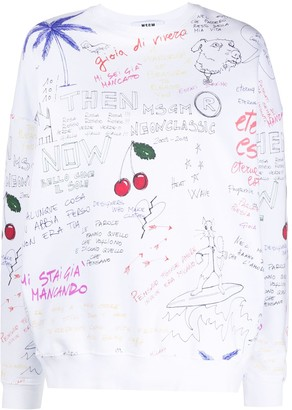 MSGM Doodle-Print Oversized Sweatshirt