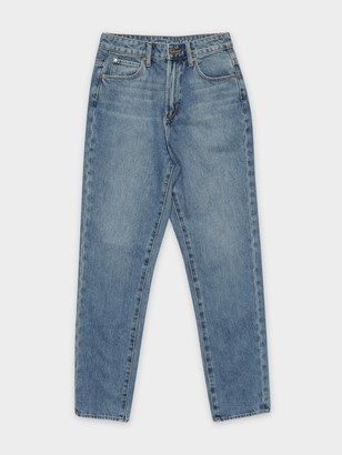 Articles of Society Amy High Mom Slim Jeans in Mid Authentic Blue Denim