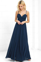 LuLu*s Nod and Wink Navy Blue Maxi Dress