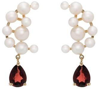 Anissa Kermiche 14kt gold Blood Sisters pearl garnet earrings