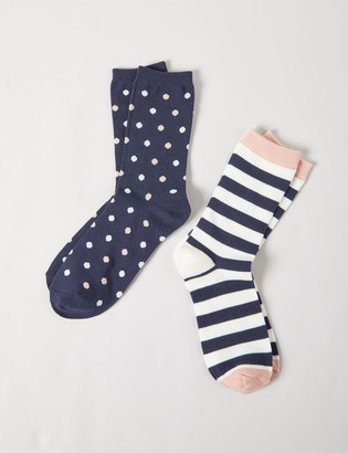 Lane Bryant Crew Socks 2-Pack - Dotted & Striped