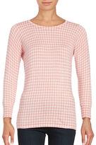 Imnyc Isaac Mizrahi Houndstooth Three-Quarter Sleeve Sweater