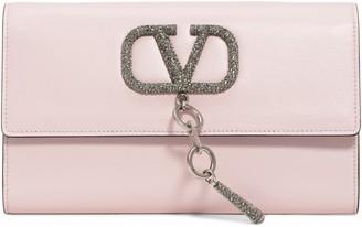 Valentino Garavani V-Case Leather Clutch