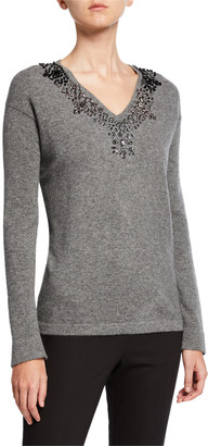 Neiman Marcus Embellished V-Neck Long-Sleeve Cashmere Sweater
