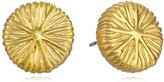 T Tahari Gold-Tone Textured Button Earrings