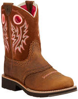 Ariat Children's Fatbaby Cowgirl - Powder/Western Brown Full Grain Leather/Suede Boots