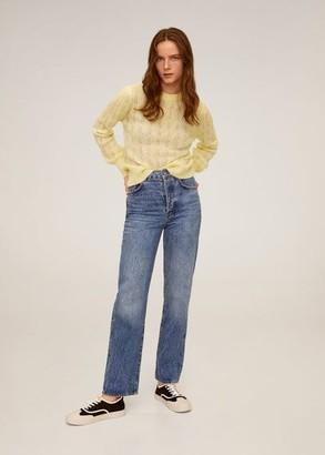 MANGO Open work-detail sweater pastel yellow - S - Women
