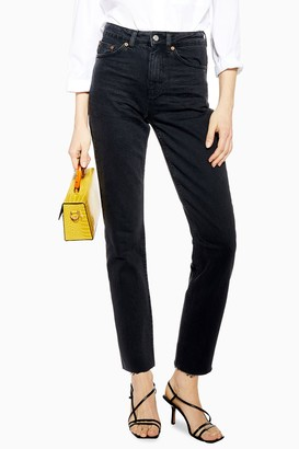 Topshop Womens Idol Washed Black Straight Jeans - Washed Black