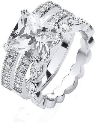 Buckley London Buckley Silver Colour Vintage Style CZ Stacker Rings