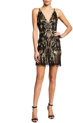 Dress the Population Vittoria Sequin Fringe-Trim Mini Dress