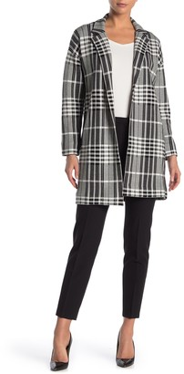 T Tahari Notch Collar Plaid Print Jacquard Coat
