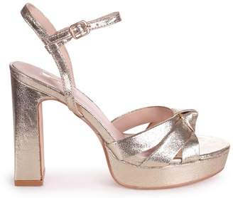 Linzi SIMONE - Gold Crinkle Faux Leather Platform With Knot Front Straps & Sandal Back