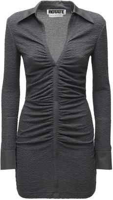 Rotate by Birger Christensen Simone Crimped Jersey Mini Shirt Dress
