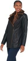 Dennis Basso Madison Avenue Faux Leather Moto Jacket w/ Faux Fur Trim