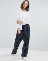 Ichi Pinstripe Wide Leg Pants