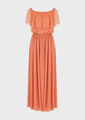 Emporio Armani Silk-Chiffon Long Dress With A Flounced Bardot Collar