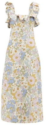 Zimmermann Super Eight Floral-print Linen Midi Dress - Blue Print