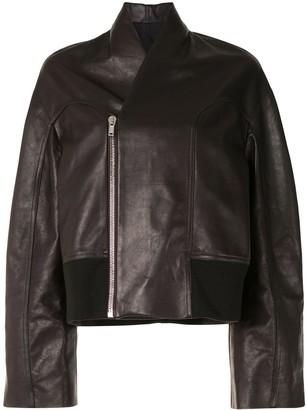 Rick Owens Wide-Sleeve Leather Jacket