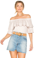 David Lerner Suede Ruffle Top in Pink. - size M (also in S,XS)