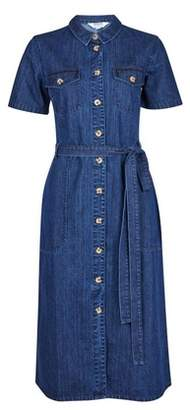 Dorothy Perkins Womens Indigo Denim Shirt Dress