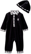 Little Me Dashing Bear Coverall and Hat Set (Baby Boys)
