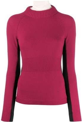 Moncler contrast colour ribbed sweater
