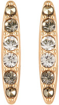 Judith Jack 10K Gold Plated Sterling Silver Crystal Swarovski Marcasite Pave Bar Stud Earrings