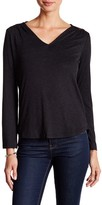 Bobeau Lace Yoke V-Neck Knit Blouse