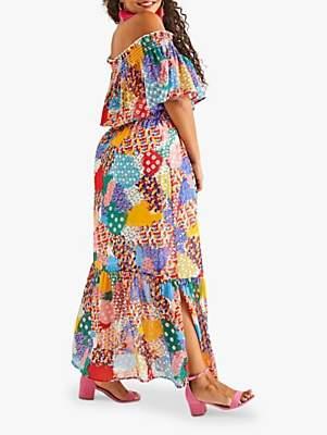 Yumi Curves Patchwork Heart Maxi Dress, Multi