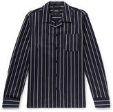 A.P.C. - Camp-Collar Striped Cotton and Wool-Blend Shirt