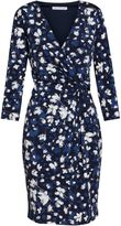 Gina Bacconi Blue ivory grey floral jersey dress