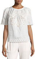 Isabel Marant Pleated Eyelet Short-Sleeve Blouse, White