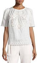 Isabel Marant Pleated Eyelet Short-Sleeve Blouse, White