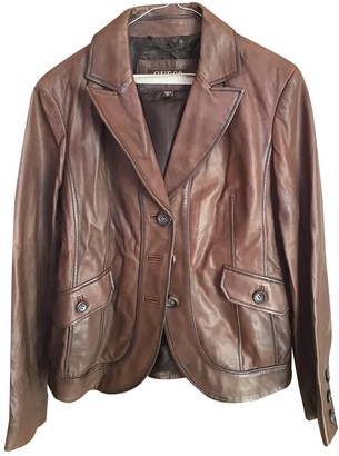 GUESS Brown Leather Leather Jacket for Women