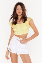 Nasty Gal Womens Daisy For You Button-Down Crop Top - Yellow - 4, Yellow