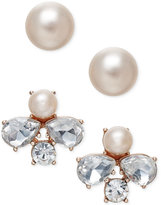 Charter Club Rose Gold-Tone 2-Pc. Set Crystal and Imitation Pearl Stud Earrings, Only at Macy's