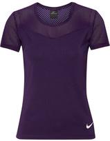 Nike Hypercool Dri-fit Stretch-jersey And Mesh Top - Purple