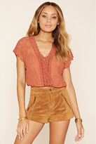 Forever 21 FOREVER 21+ Crochet Lace-Up Crop Top