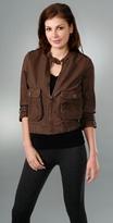 3/4 Sleeve Cropped Leather Jacket